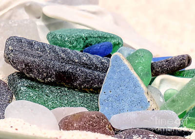 Photograph - Painted Rock Amongst Sea Glass by Janice Drew