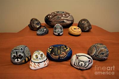 Beaver Mixed Media - Painted Rock Animals by Sharon Patterson