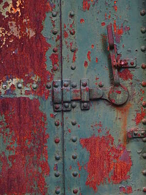 Photograph - Painted Rusted Steel Door - Fort  by Marie Jamieson