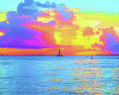 Key West Painting - Painted Sails Key West by Chris Andruskiewicz