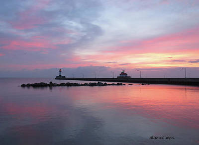 Duluth Canal Park Canal Park Lighthouse Lighthouse Lake Superior Minnesota Photograph - Painted Sky by Alison Gimpel