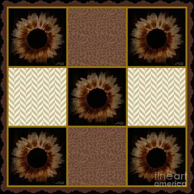 Photograph - Painted Sunflower Quilt Series by Bobbee Rickard