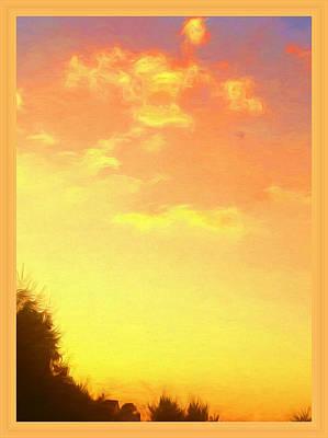 Framed Digital Art Mixed Media - Painted Sunset by Debra Lynch
