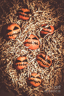Hiding Photograph - painted tangerines for Halloween by Jorgo Photography - Wall Art Gallery