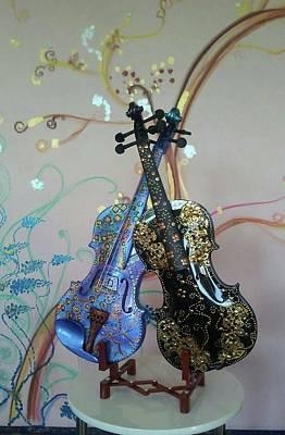 Painting - Painted Violins by Melita Safran
