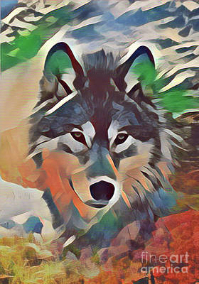 Digital Art - Painted Wolf by Kathy Kelly