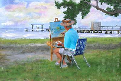 Painter On The Beach Original by Mary Timman