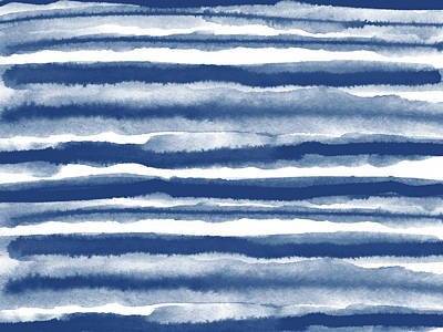 Neutral Art Mixed Media - Painterly Beach Stripe 3- Art By Linda Woods by Linda Woods