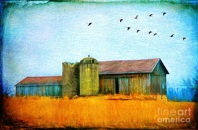 Photograph - Painterly Neon Colored Rural Barn by Clare VanderVeen