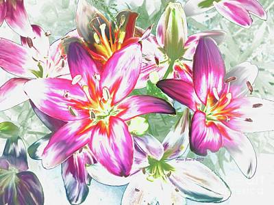 Painting - Painterly Pink Tiger Lilies by Annie Zeno