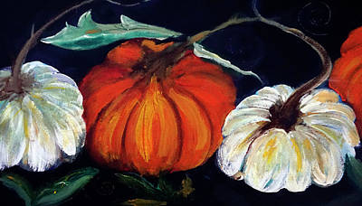 Digital Art - Painterly Pumpkins On Black By Lisa Kaiser by Lisa Kaiser