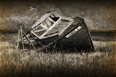 Photograph - Painterly Seascape Photograph Of An Abandoned Boat by Randall Nyhof
