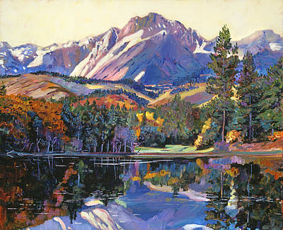 Mountain Snow Landscape Painting - Painter's Lake by David Lloyd Glover