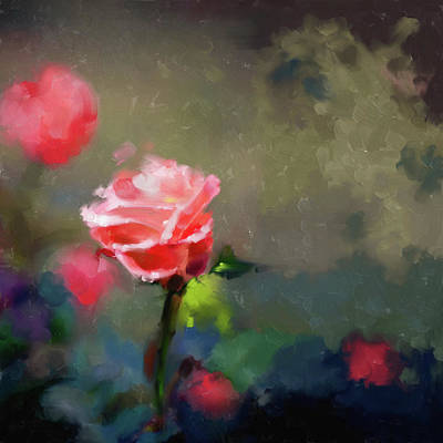 Cherry Blossoms Painting - Painting 381 3 Pink Rose by Mawra Tahreem