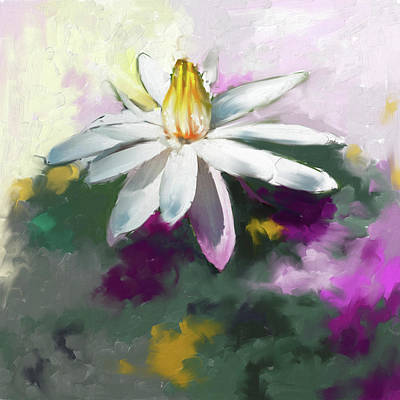 Cherry Blossoms Painting - Painting 383 Water Lily 2 by Mawra Tahreem