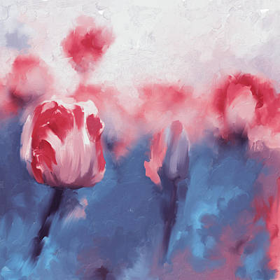 Cherry Blossoms Painting - Painting 385 2 Pink Tulips  by Mawra Tahreem