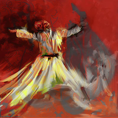 Sufi Dancer Painting - Painting 715 3 Sufi Whirl I by Mawra Tahreem