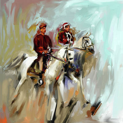 Painting - Painting 735 1 Horse Race 2 by Mawra Tahreem
