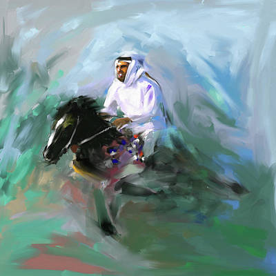 Painting - Painting 737 1 Horse Race 4 by Mawra Tahreem