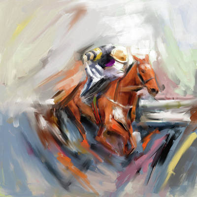 Painting - Painting 738 1 Horse Race 5 by Mawra Tahreem