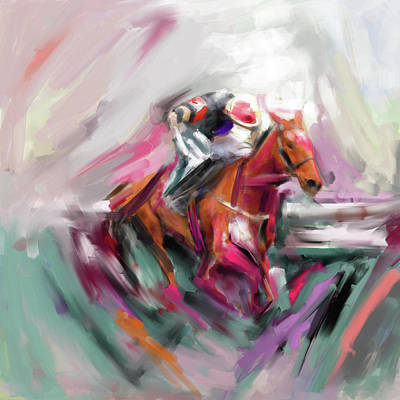 Painting - Painting 738 2 Horse Race 5 by Mawra Tahreem