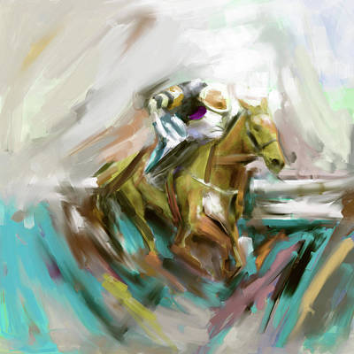 Painting - Painting 738 3 Horse Race 5 by Mawra Tahreem