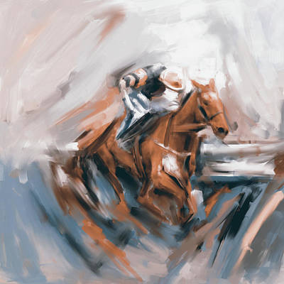 Painting - Painting 738 4 Horse Race 5 by Mawra Tahreem