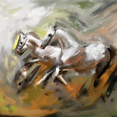 Painting - Painting 739 2 Horse Race 6 by Mawra Tahreem