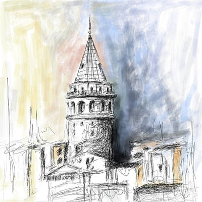 Painting - Painting 762 1 Galata Tower by Mawra Tahreem