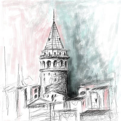 Painting - Painting 762 3 Galata Tower 3 by Mawra Tahreem