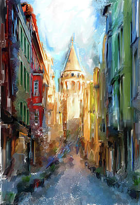 Painting - Painting 764 1 Galata Tower by Mawra Tahreem
