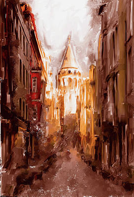 Painting - Painting 764 2 Galata Tower by Mawra Tahreem