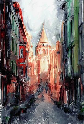 Painting - Painting 764 3 Galata Tower by Mawra Tahreem
