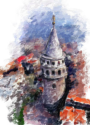 Painting - Painting 765 1 Galata Tower by Mawra Tahreem