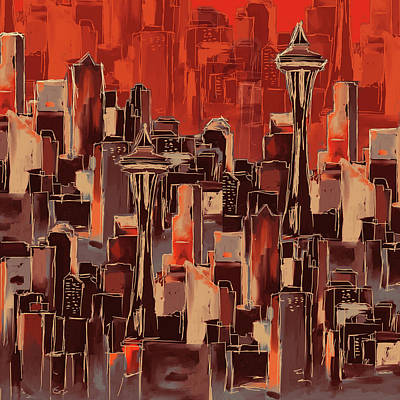 Painting - Painting 773 1 Seattle Skyline by Mawra Tahreem