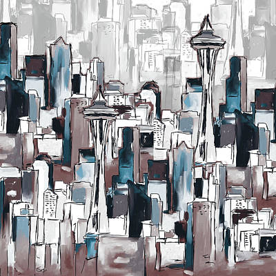 Painting - Painting 773 6 Seattle Skyline by Mawra Tahreem