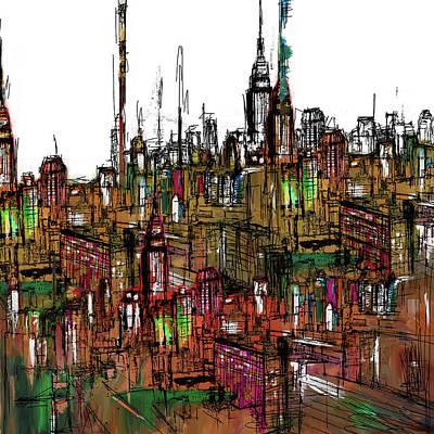 Painting - Painting 775 2 New York Skyline by Mawra Tahreem