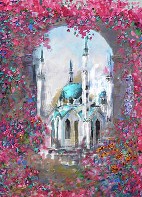 Painting - Painting 776 1 Qolsarif Mosque by Mawra Tahreem