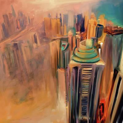 Painting - Painting 778 1 Dubai Skyline by Mawra Tahreem
