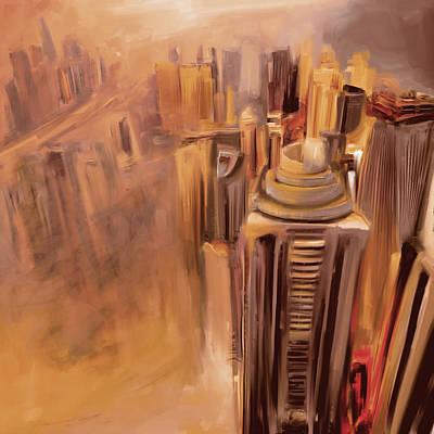 Painting - Painting 778 3 Dubai Skyline by Mawra Tahreem