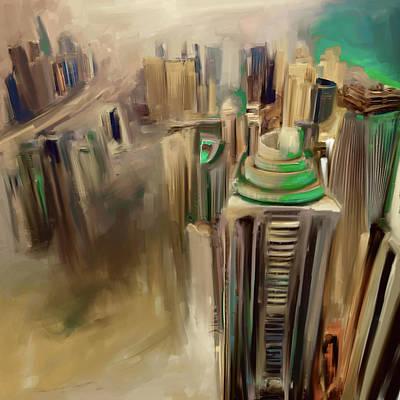 Painting - Painting 778 4 Dubai Skyline by Mawra Tahreem