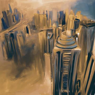 Painting - Painting 778 5 Dubai Skyline by Mawra Tahreem