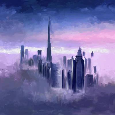 Painting - Painting 779 1 Dubai Skyline by Mawra Tahreem