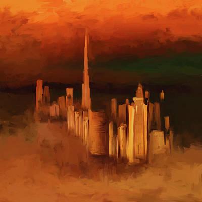 Painting - Painting 779 2 Dubai Skyline by Mawra Tahreem
