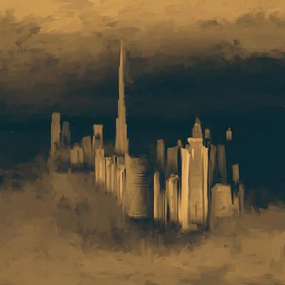 Painting - Painting 779 3 Dubai Skyline by Mawra Tahreem