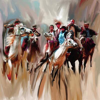 Painting - Painting 787 1 Buzkashi by Mawra Tahreem