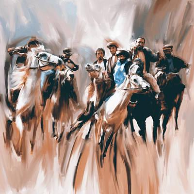 Painting - Painting 787 2 Buzkashi by Mawra Tahreem