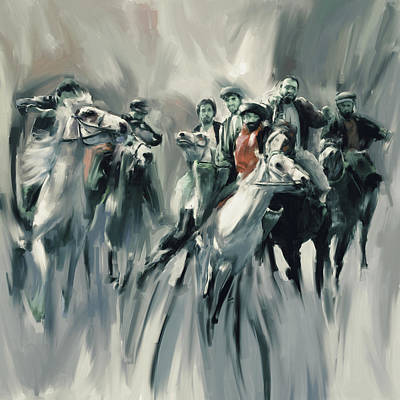 Painting - Painting 787 5 Buzkashi by Mawra Tahreem