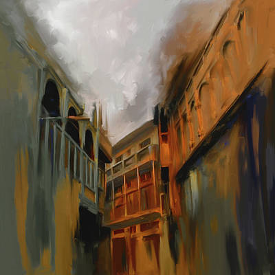 Painting - Painting 791 4 Wooden Architecture by Mawra Tahreem