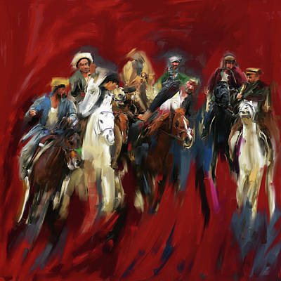 Painting - Painting 799 1 Buzkashi by Mawra Tahreem